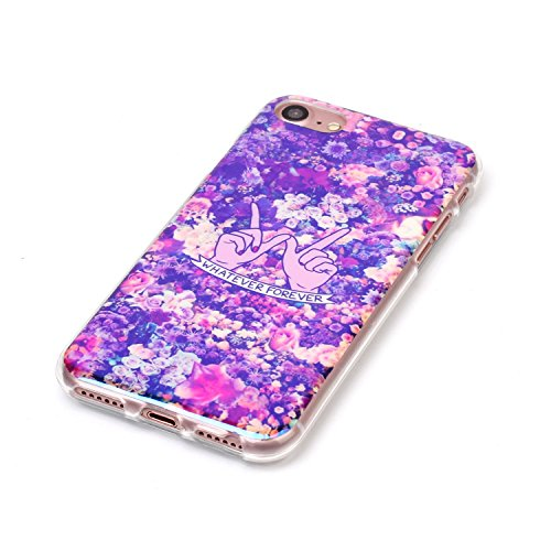 Cover iphone 8 / 7, Custodia iphone 8 / 7, Alfort Cover Protettiva Premium TPU di alta qualità Flip Case Cover per iphone 8 / 7 4.7 Smartphone Colorato Cristallo Trasparente Ultra Sottile Morbido TPU Fiore