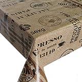 Wachstuch Breite 140 cm Länge wählbar - Kaffeesack Braun Beige Lebensmittelecht Kaffee - 140 x 110 bzw. 110x140 cm abwaschbare Tischdecke Gartentischdecke