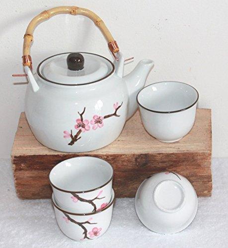 AAF Nommel ®. Teeset Kirschblüte – Sakura – aus Keramik weiss 5 tlg. im Geschenkkarton Nr. 112