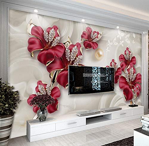 WH-PORP 3D Tapete Benutzerdefinierte Tapete für Wände 3 d modernen europäischen Stil Kunst Wandbild Diamant Schmuck Blume Wohnzimmer Tv Hintergrund Fototapete-350cmX245cm