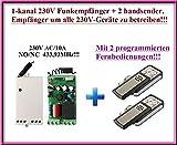 1-kanal 230V Funkempfänger + 2 handsender. Empfänger um alle 230V-Geräte zu betreiben, 433,92MHz NO/NC