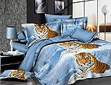 3D Snow Tiger bedrucktes Bettwäsche-Set Bettwäsche Tröster Abdeckung für Doppel-Größe 4