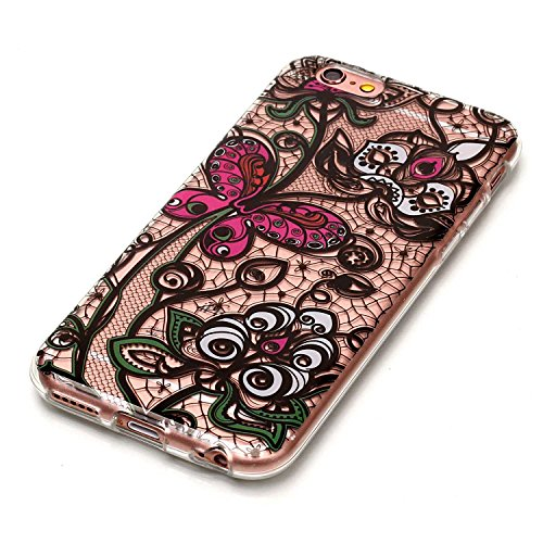 Custodia iPhone 5 Silicone, LuckyW TPU Silicone Custodia per Apple iPhone 5 5S SE Colorful Pattern Design Transparente Gomma Gel Clear Limpido Bumper Case Cover Ultra Sottile Ultra Slim Thin Morbida F Fiore farfalla