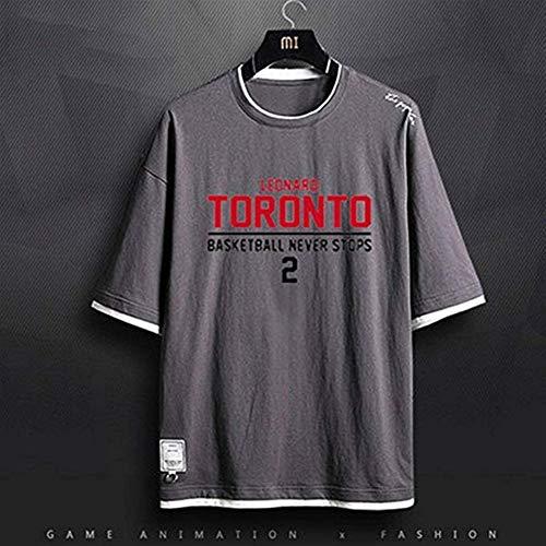 Shelfin Herren Trikot Das T-Shirt Der NBA-Männer Toronto-Raubvogel-Meister-Leonard # 2 Basketball-Fans Leonard Team Short Sleeve Jersey Sweatshirt Gray T-Shirt (Color : Gray3, Size : L) -