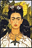 Close Up Frida Kahlo Poster Portrait with Necklace (93x62 cm) gerahmt in: Rahmen Schwarz