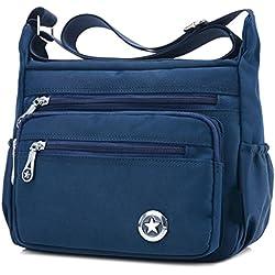 Bolso de hombro para mujer, cruzado, estilo cartero, impermeable, de nailon, color Azul, talla S