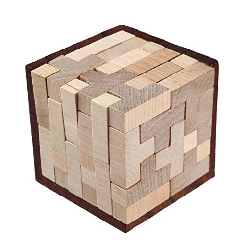 Omiky® Kinder Erwachsene Holz Intelligenz Chinesisch Gehirn Teaser Spiel 3D IQ Puzzle Spielzeug (Gehirn Kinder Spiele)
