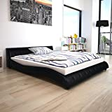 Festnight Cadre de lit en Cuir synthétique 160 x 200 cm Noir