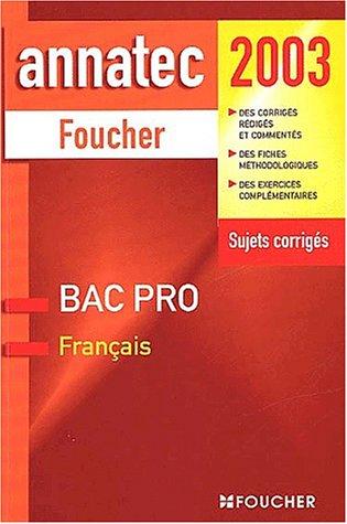 Français : Bac pro 2003