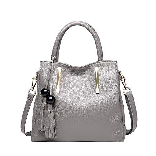 DISSA EQ0879 Damen Leder Handtaschen Satchel Tote Taschen Schultertaschen Grau