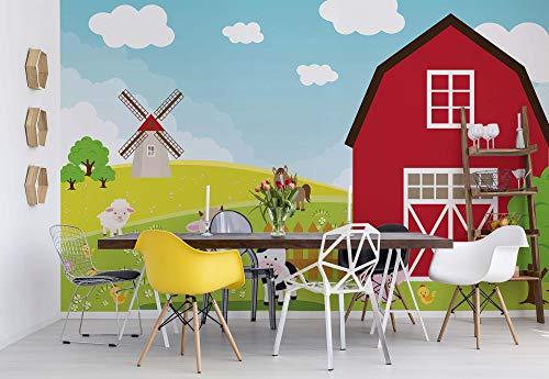 Wallsticker Warehouse Cartoon-Farm Hoftiere Vlies Fototapete Fotomural - Wandbild - Tapete - 368cm x 254cm / 4 Teilig - Gedrückt auf 130gsm Vlies - 2977V8 - Cartoons & Zeichen