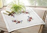 heimtexland Herbst Tischdecke natur Mitteldecke Leinen Optik 85x85 cm bestickt mit Blumen TOP QUALITÄT Typ173