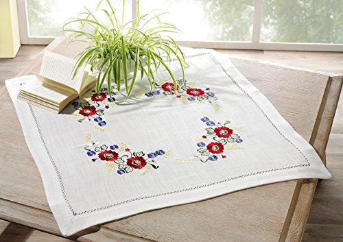 heimtexland Automne Nappe Naturel Surnappe aspect lin brodée avec fleurs 85 x 85 cm top qualité typ173