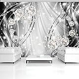 DekoShop Fototapete Vlies Tapete Vliestapete Moderne Wanddeko Wandtapete Wand Dekoration Abstrakt, Diamanten und Silber AMD10406VEXXL VEXXL (312cm. x 219cm.) Wallpaper Tapetenkleister und Überraschungsaufkleber Gratis