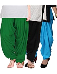 Crafts 100% Pure Solid Cotton Semi Patiala Salwar Bottoms Indoor Outdoor For Women's & Girls( Color Green / Black...