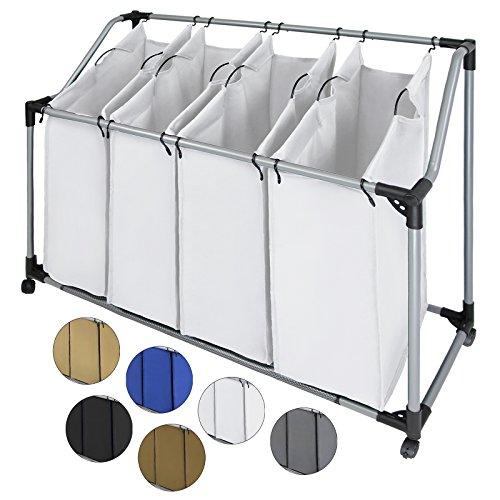 BB Sport Wäschesortierer SVEN mit vier abnehmbare Fächern Wäschesammler Wäschekorb , Farbe:Atlasweiß