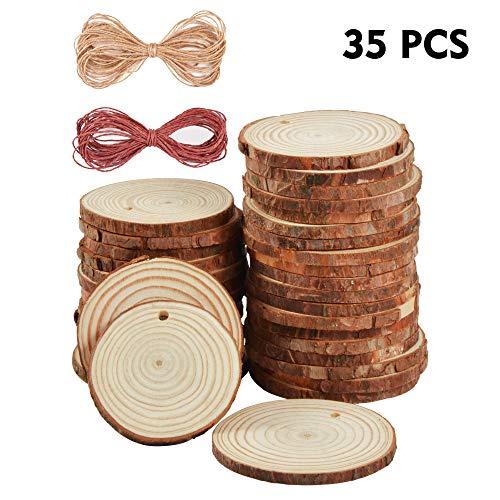 Ipow 6-7cm 35 pz dischetti legno grezzo fette legno dischi legno con 10m corda iuta + 10m corda vino rosso decorazioni natalizie decorazione per natale fai da te feste matrimonio segnaposto
