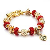 Hot and Bold Gold Plated Heart/Love/Valentine Charms DIY Bracelet. Daily/Party Wear Stylish Fashion Jewellery for Women/Girls.