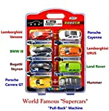 #1: Happy GiftMart Set of 8 All World Famous Car Designs with Pull Back Option for Supercars Toy Set