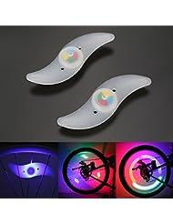 OSAN 2x Lumière Spoke étanche Lampe LED Flash en Roue de Vélo-élégant Coloré lumineux