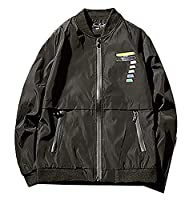 H&E Men's Full Zipper Slim Print Jersey Windbreakers Jackets X-Large Black