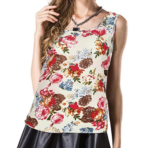 Blusen Damen Rose Frauen Sommer Bluse Floral Ärmellos Tops O-Ausschnitt Print Shirt Bluse Frauen Schulterfrei Oberteil Elegante Bluse Kurz Tops Casual Lose T-Shirt LANSKIRT (L, Mehrfarbig 1) - Skull Burnout T-shirt