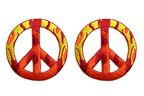 altotux 2Pcs Camouflage Flame Peace Zeichen selbstklebend Eisen auf Applikationen Patch (2Flammen Patches) -