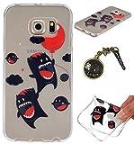TPU Cuir Coque Strass Case Etui Coque étui de portefeuille protection Coque Case Cas Cuir Swag Pour( Samsung Galaxy S6 Edge)+Bouchons de poussière (W7)