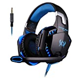 [L'ultima Versione Cuffie Gaming per PS4] KingTop EACH G2000 Cuffie da Gioco con Microfono Stereo Bass LED Luce Regolatore di Volume per PS4 PC Xbox One S Cellulari, Blu e Nero