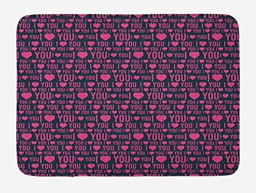 OQUYCZ I Love You Bath Mat, Romance Pattern with Heart Forms and Love Quote Valentines Couples Theme, Plush Bathroom Decor Mat with Non Slip Backing, 23.6 W X 15.7 W Inches, Magenta Dark Grey