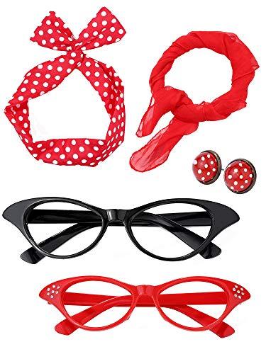 Kostüm Party 50er Jahre - Damen 50 Jahre Kostüm Zubehör Set Mädchen Schal Stirnband Ohrringe Cat Eye Brille für Teily (Farbe Set 2)