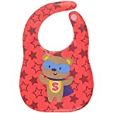 Square Waterproof Plastic Bib, Soft Fabric, REUSABLE, UNISEX, FREE SIZE Wi Comfort-Fit Closure, BPA Free, Best Gifting Option For Baby Showers, Baby Registry For Baby Boys & Baby Girls, RED