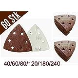 60pieza triángulos de lija con velcro 93x 93x 93mm, grano 10x 40/60/80/120/180/240para lijadora delta de 6agujeros