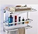 CH Products Handtuchhalter Badezimmer Wandregal Badezimmer-Wand Raum Aluminium zwischen Zwei Schichten Racks Bad Handtuchhalter Bad Badezimmer Handtuchhalter (Farbe : 88183L, größe : 600mm)