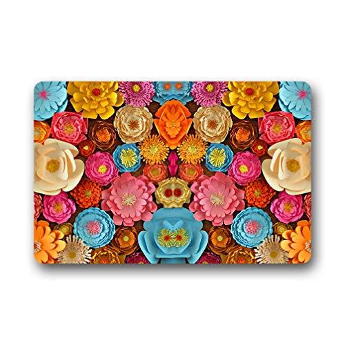 best gift Fußmatte/Fußmatte, Rutschfest, Gummi-Rückseite, Rutschfest, 60 x 40 cm, Blumenmuster, Orange/Blau/Gelb/Pink/Beige