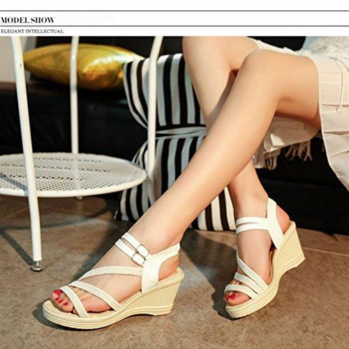 DM&Y 2017 Europ?ische und amerikanische feinen Sommer mit Schnalle Sandalen Kombination White