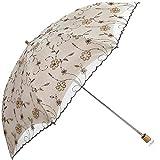 JianJu Faltbarer Sonnenschirm, Sonnenschirm für Damen mit UV-Schutz UPF 50+ Kompakte Größe mit schwarzer Unterseite Halten Sie Sich im heißen Sommer kühl,Beige