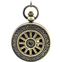 Infinite U Esqueleto Hueco Forma de Rueda Colgante Collar Números Romanos Reloj de Bolsillo Mecánico