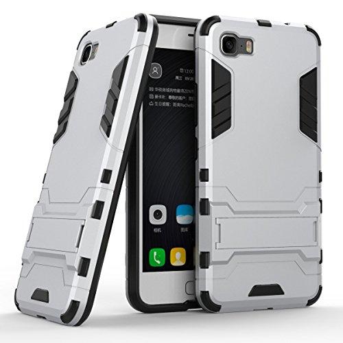 Asus ZenFone 3S Max ZC521TL Kasten, CaseFirst 2 in 1 Hybrid Combo High Impact Robuste Shockproof Rüstung Case Cover Defender mit Kickstand für Asus ZenFone 3S Max ZC521TL (Silber)