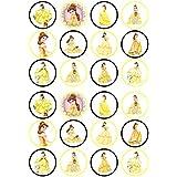 Belle princesa belleza y la bestia comestible Premium de grosor edulcorados vainilla, oblea Rice Paper Cupcake Toppers/adornos