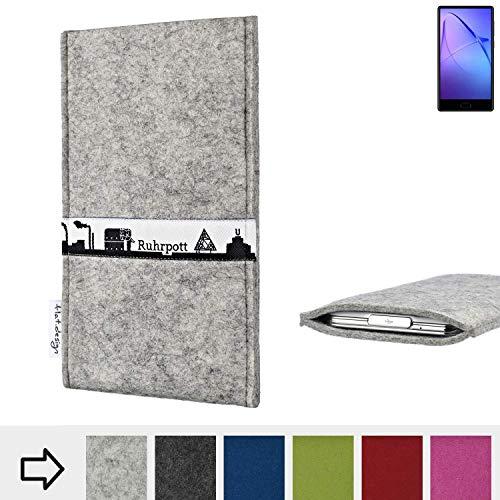 flat.design für Leagoo KIICA Mix Schutzhülle Handytasche Skyline mit Webband Ruhrpott - Maßanfertigung der Schutz Tasche Handycase aus 100% Wollfilz (hellgrau) für Leagoo KIICA Mix