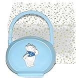 Schnullerhalter/Schnullerkette hellblau mit Winnie the Pooh in Silber