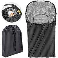 Zamboo - Saco Universal DELUXE para Maxicosi / Portabebés | Saco de invierno con forro polar térmico para Silla de coche bebé, con capucha y bolsa - color Negro/gris