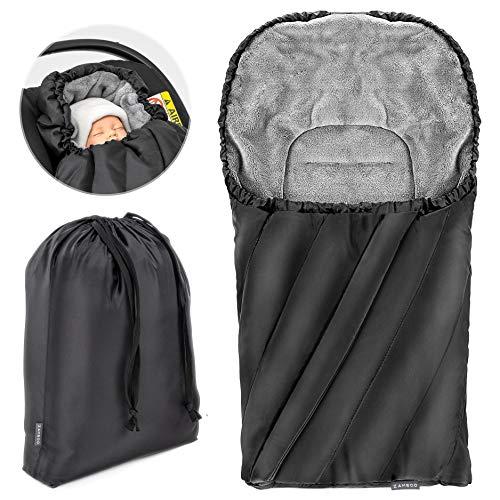 Zamboo Deluxe Sacco Termico Universale per ovetto - seggiolino auto (es: Inglesina, Chicco) | Sacco invernale In pile, con punti cintura, cappuccio regolabile e borsa | Nero Grigio