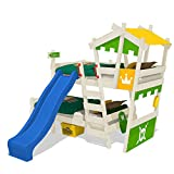 WICKEY Etagenbett CrAzY Castle Doppel-Kinderbett 90x200 Hochbett mit Rutsche, Treppe, Dach und Lattenboden, apfelgrün-gelb + blaue Rutsche + weiße Farbe