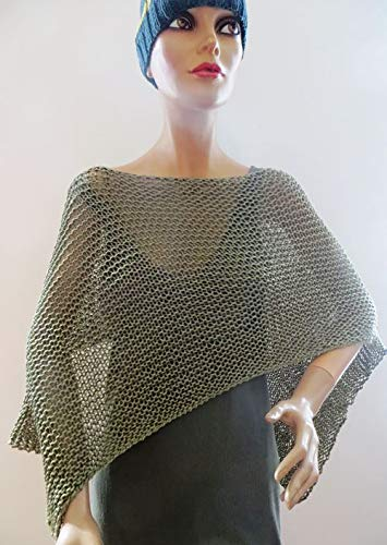 Damen Poncho olive Seide,handgestrickt, alle Ponchos kann man auch unter einem Mantel - Jacke tragen - Tragen, Seide Schals