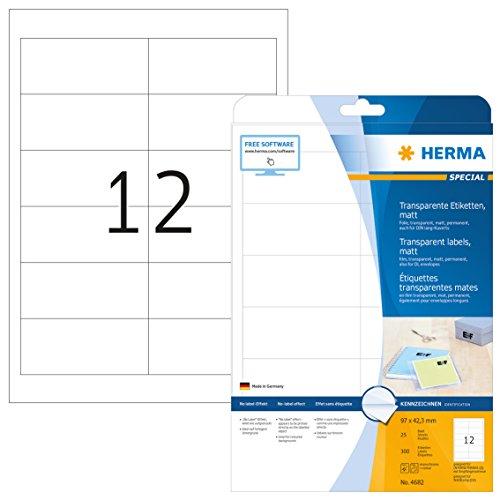 Herma 4682 Wetterfeste Folien-Etiketten transparent matt (96,5 x 42,3 mm) 300 Aufkleber, 25 Blatt DIN A4 Klebefolie, bedruckbar, selbstklebend