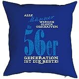 Goodman Design  Kissenbezug mit Geburtstagsmotiv: Alle Männer Werden gleich geschaffen, 56er Generation Royalblau