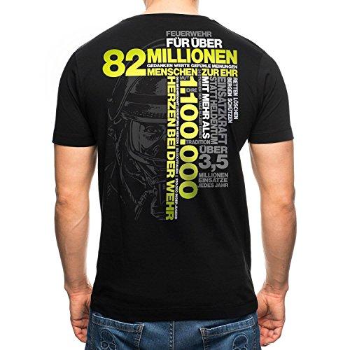 82 MILLIONEN MENSCHEN ZUR EHR Feuerwehr T-Shirt Männer, Größenauswahl:XL (Jugend T-shirt Deutschland)