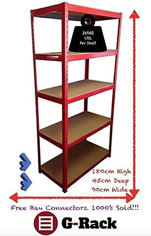 180cm x 90cm x 45cm, Rouge, 5étages (265kg par étagère), Heavy Duty 1325kg Capacité Garage Abri de jardin Etagere de rangement, 5ans de garantie